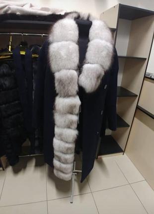 Пальто кашемировое с мехом финского песца пальто зимнее с мехом песца4