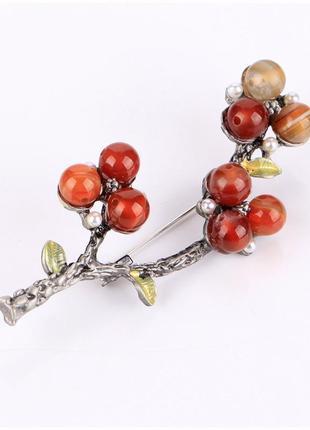 Шикарная брошь брошка веточка с ягодками