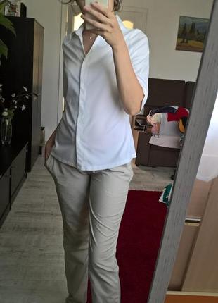 Белая базовая рубашка от biaggini/ блуза/40-42р/m-l-ка