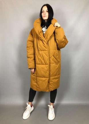 Куртка одеяло пухан оверсайз monki горчица эко пух
