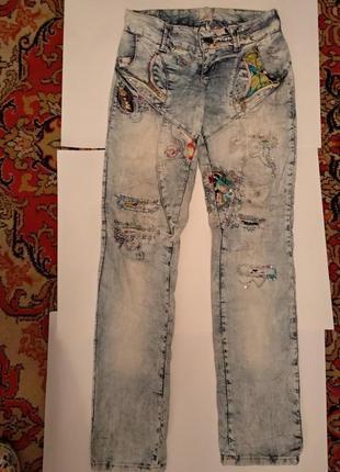 Восхитительные шикарные уникальные яркие джинсы унікальні яскраві джинси декор 2в подарок