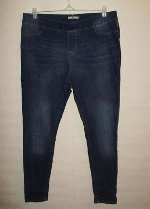 Синие стрейчевые джегинсы джинсы на резинке/батал/16/50-52 размера
