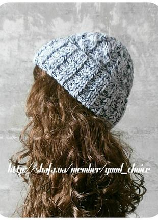 Спеццена до нг! хлопковая шапка с отворотом/косы/белого, чёрного цвета (меланж)