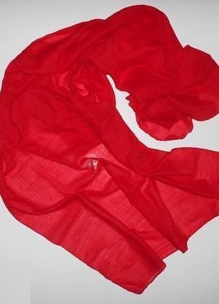 Шарф тонкий шарфик осенний весенний женский красный платок на шею палантин однотонный