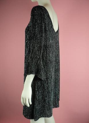 Платье вечернее блестками блестящее серебристое черное открытой воланами свободное прямое