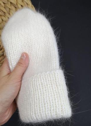 В наличии пушистая теплая шапка бини ангора 80 шапка из кролика