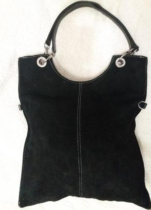 Вместительная отличная сумка из замши, оригинальное дизайнерское решение!