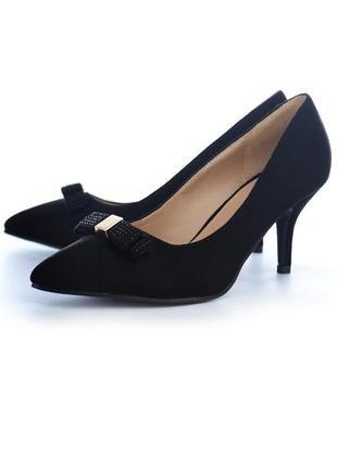 Туфли лодочки черные классические эко замшевые