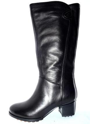 Модные сапоги женские зимние кожаные черные elelsemсо скидкой