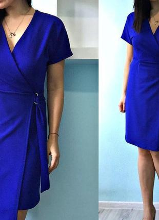 Синее платье с запахом