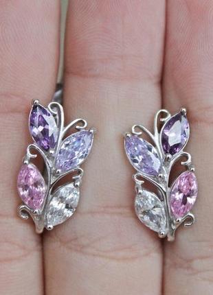 Серебряные серьги джаз фиолетовые