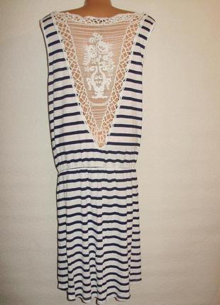 Оригинальное платье в полоску спинка с кружевом/батал/18/52-54 размера