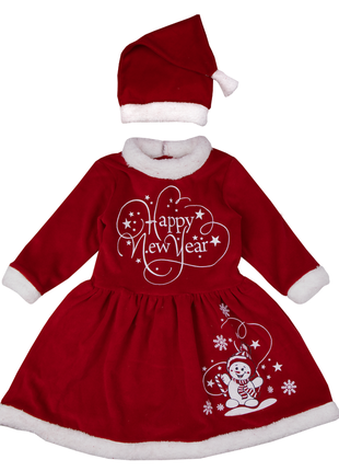 74-80, 80-86, 86-92 см: детское новогоднее велюровое платье с колпачком