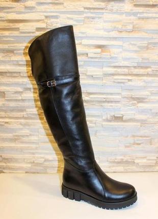Сапоги ботфорты женские зимние черные без каблука натуральная кожа с759