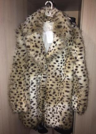 Леопардовая эко шуба h&m