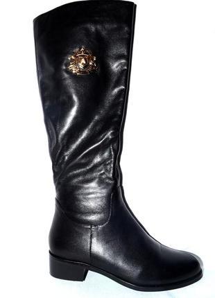 Новые сапоги женские зимние кожаные черные berkonty со скидкой