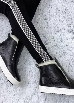 Черные кожаные хайтопы