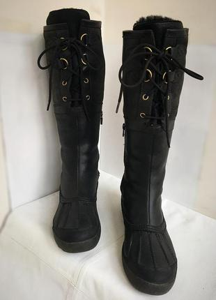 Сапоги ботинки добротные кожаные, зимние на цигейке ugg, 39/40 размер.