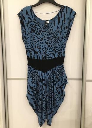 Платье леопардовое синее с поясом h&m