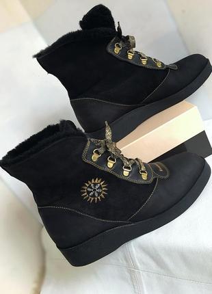 Ботинки кожаные зимние, на цигейке kandahar, 38 размер.