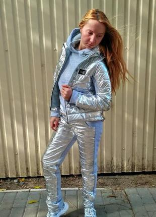 Теплый женский спортивный костюм - сильвер