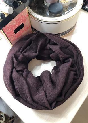 Шарф палантин платок накидка теплый большой длинный зимний шерстяной бордовый фиолетовый