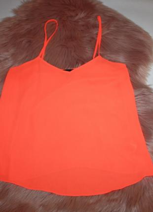 Блузка-майка оранжевая неоновая неон яркая topshop 8р (к036)