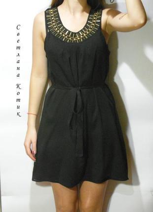 Черное платье, сарафан с бусинами