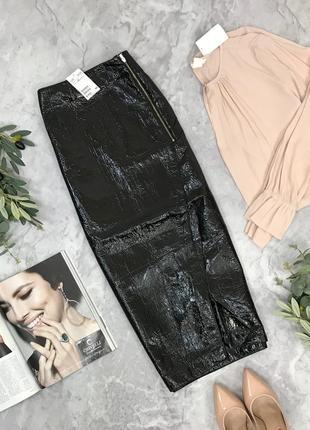 Трендовая лаковая юбка с разрезом от h&m  ki1849060