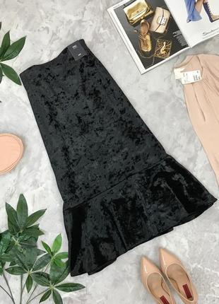 Велюровая юбка с оборкой длины миди  ki1849127 marks & spencer