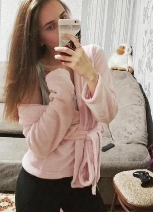Теплая мягкая розовая пижамка-халат