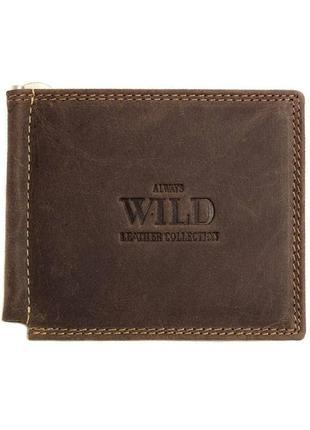 Кожаный зажим для денег  always wild c2-mh brown