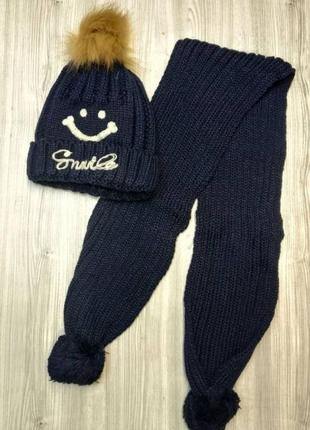 Шапка + шарф зимові smile  (50-54)