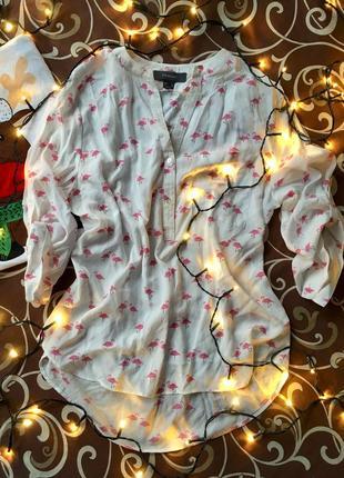 Рубашка/блуза с фламинго🎄новорічний розпродаж🎄на 3тю річ -50%🛍
