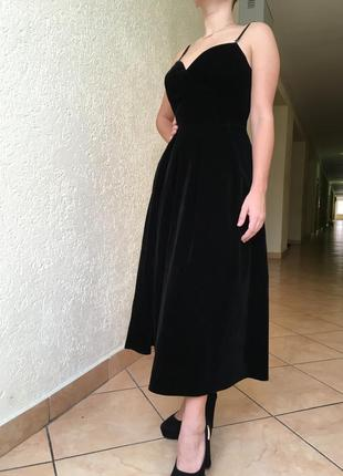 Суперское бархатное / велюровое платье миди