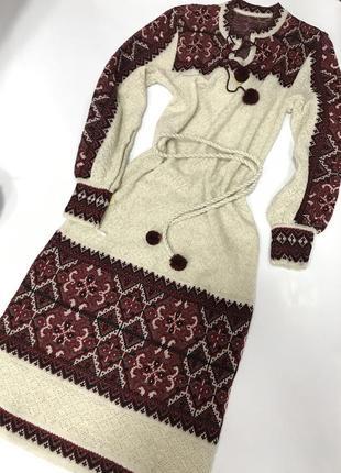 Вязаное тёплое льняное этно платье вышиванка размер 42-44