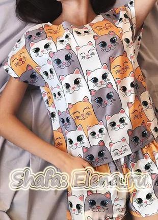 Пижама с котиками + подарок (маска для сна), вещи для дома, акция