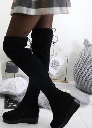 Новые черные зимние замшевые сапоги ботфорты размер 36,38
