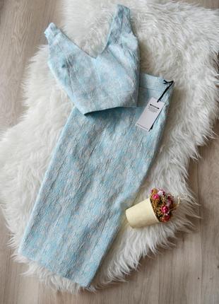 Новый костюм кроп-топ +юбка / платье 2 в 1 fashion union