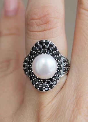 Серебряное кольцо клэр черное кольцо 16,5-17