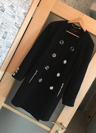Только до 20.12! черное утепленное двубортное пальто (бесплатная доставка)