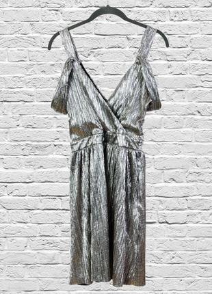 Нарядное платье серебристое из жатой ткани, коктейльное платье серебро