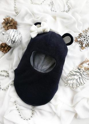 Шапка зимняя теплая шлем на девочку мишутка