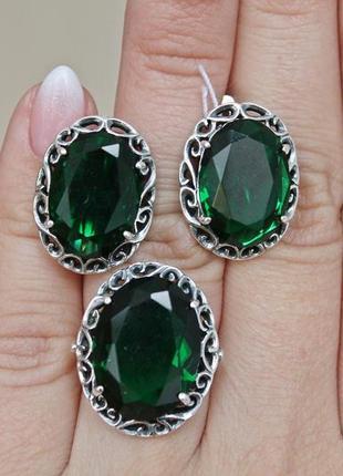 Серебряный набор касандра зеленый кольцо 17