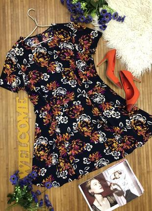 Красивое темно-синее платье в цветы большого размера 20-48
