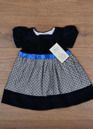 Нарядное платье в стиле микки-маус горошек бархат с подкладкой - р.74-80