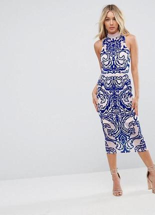 Бежевое миди платье с бархатным напылением