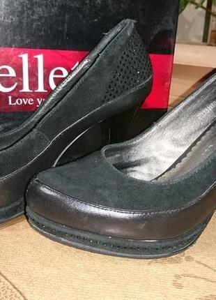 Шикарные натуральные кожа+замш туфли для золушки на 33 - 34 размер