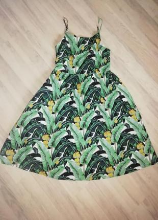 1+1=3🍨летнее платье принт бананы листья молния бретели юбка пышная