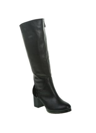 913цп женские сапоги foletti,кожаные,на каблуке,из круглым носком,на толстом каблуке